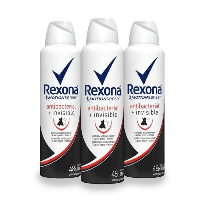 Kit Desodorante Aerosol Rexona Feminino 90 gr Antibacterial + Invisible Leve 03 Pague 02