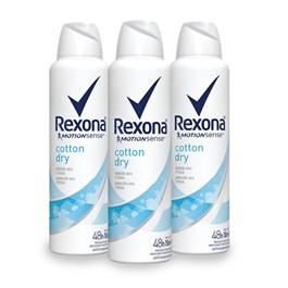 Kit Desodorante Aerosol Rexona Feminino 90 gr Cotton Dry Leve 03 Pague Menos