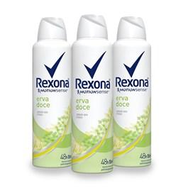 Kit Desodorante Aerosol Rexona Feminino 90 gr Erva Doce Leve 03 Pague Menos