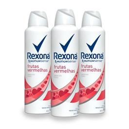 Kit Desodorante Aerosol Rexona Feminino 90 gr Frutas Vermelhas Leve 03 Pague Menos