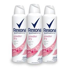 Kit Desodorante Aerosol Rexona Feminino 90 gr Power Dry Leve 03 Pague Menos