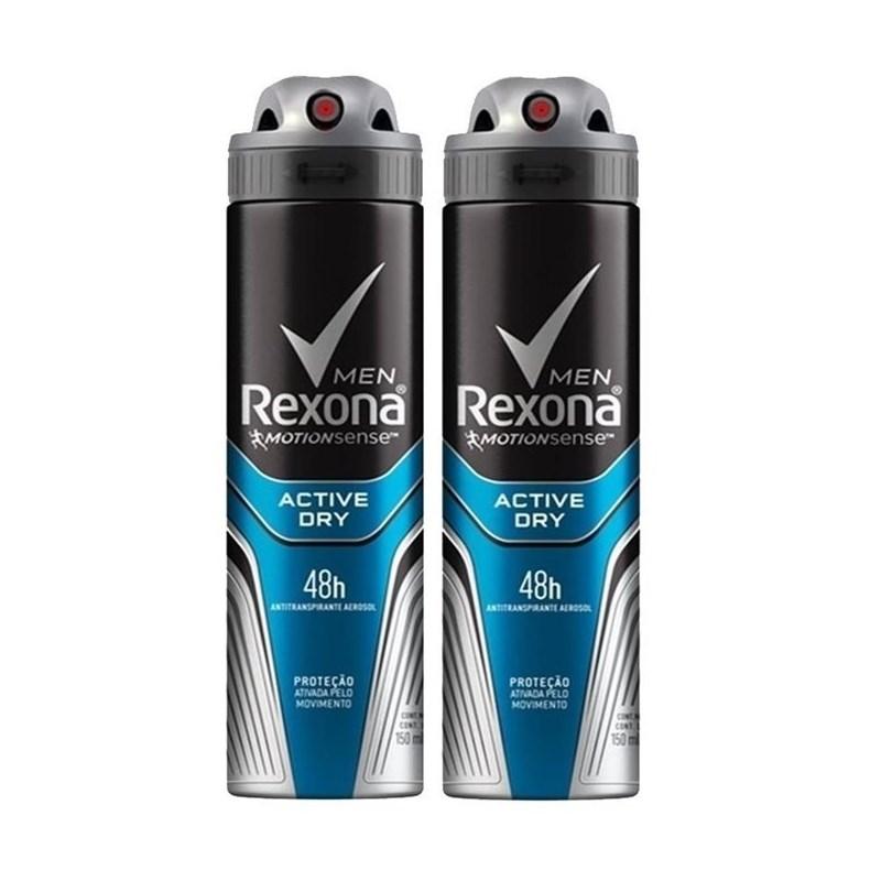 1e69fb7de Kit Desodorante Aerosol Rexona Men 90 gr Cada Active Dry - LojasLivia