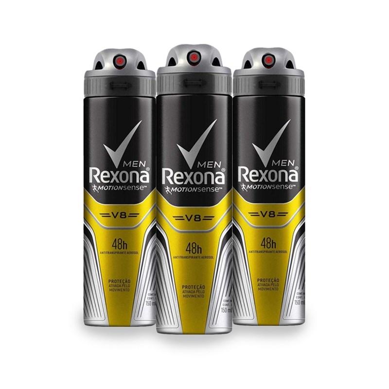 Kit Desodorante Aerosol Rexona Men 90 gr V8 Leve 03 Pague Menos
