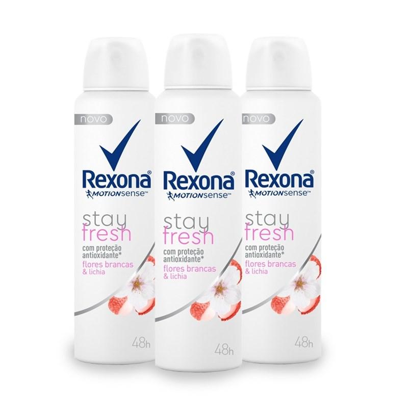 Kit Desodorante Aerosol Rexona Stay Fresh 90 gr Flores Branchas e Lichia Leve 03 Pague Menos
