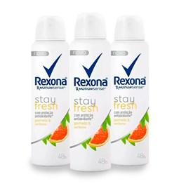 Kit Desodorante Aerosol Rexona Stay Fresh 90 gr Pomelo & Verbena Leve 03 Pague Menos