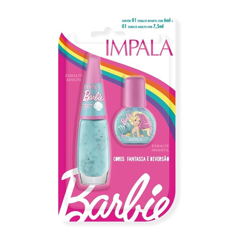 Kit Esmalte Infantil + Adulto Impala Barbie Mergulho Mágico