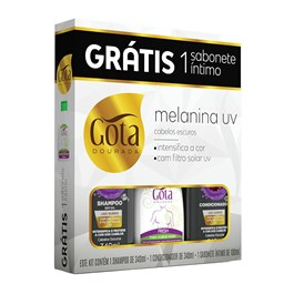 Kit Gota Dourada Melanina UV Grátis Sabonete Íntimo