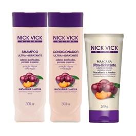 Kit Nick Vick Shampoo + Condicionador 300 ml Cada Ultra Hidratante Grátis Máscara 200 gr