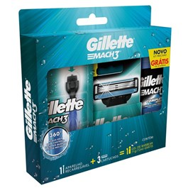 Kit Para Barbear Gillete Mach3 Acqua Grip + 2 Cargas + Gel de Barbear