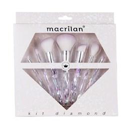 Kit Pincel Para Maquiagem Macrilan Diamond 7 Unidades