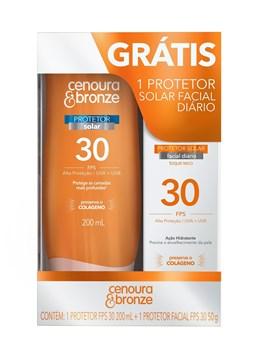Kit Protetor Solar Cenoura & Bronze FPS 30 200 ML + Facial FPS 30 50 g