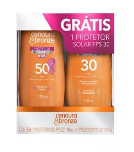 Kit Protetor Solar Cenoura & Bronze Kids FPS 50 + FPS 30 110 ml cada