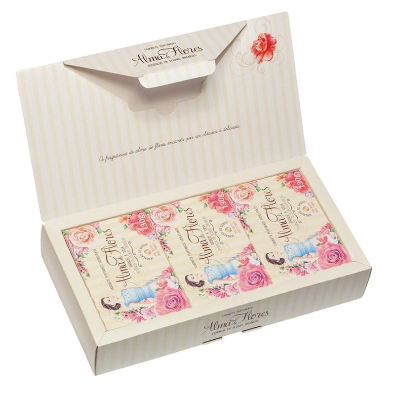 Kit Sabonete Alma de Flores 130 gr Cada Essência de Flores Brancas