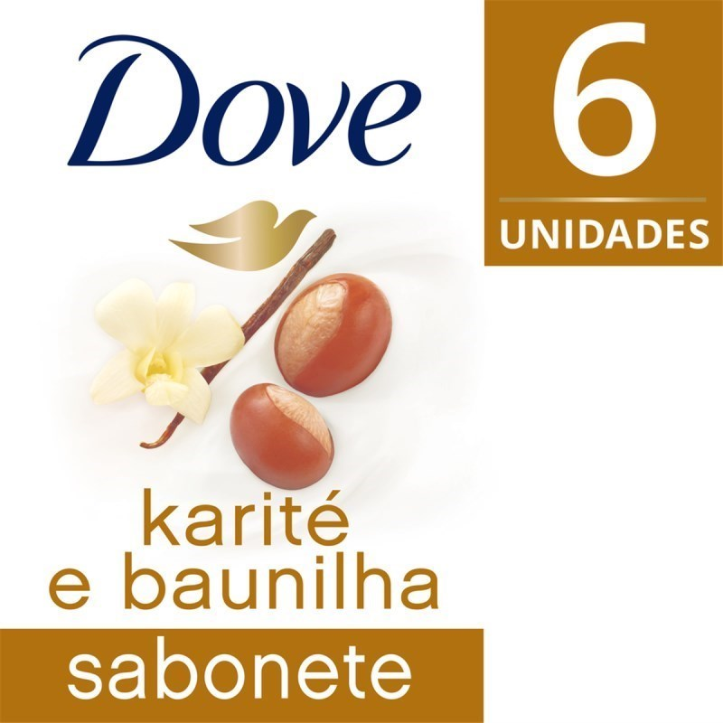 Kit Sabonete Barra Dove Delicious Care 90 gr Karite 6 Unidades