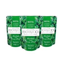 Kit Sabonete Líquido Fiorucci Refil 440 ml Hortelã com Erva Doce