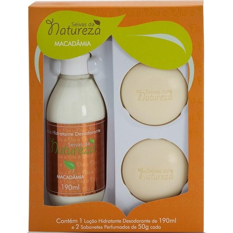 Kit Seivas da Natureza Loção Hidratante 190 ml + 2 Sabonetes 50 gr Cada Macadâmia