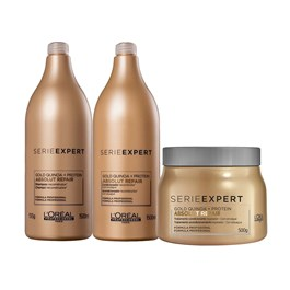 Kit Serie Expert Absolut Repair Gold Quinoa Shampoo + Condicionador + Máscara Salão
