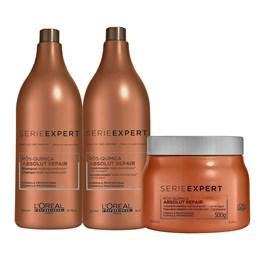 Kit Serie Expert Absolut Repair Pós-Química Shampoo + Condicionador + Máscara Salão