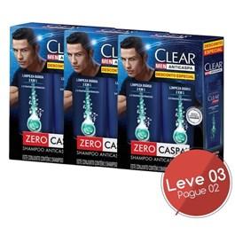 Kit Shampoo 200 ml Cada Clear Men Limpeza Diário 2 em 1 Leve 03 Pague 02