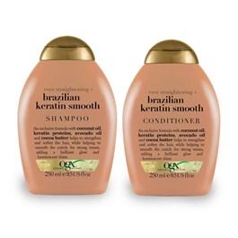 Kit Shampoo 250 ml + Condicionador 250 ml OGX Brazilin Keratin Smooth