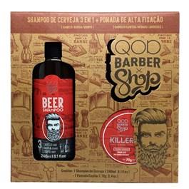 Kit Shampoo 3 em 1 240 ml + Pomada Killer 70 gr Q.O.D Barber Shop Beer