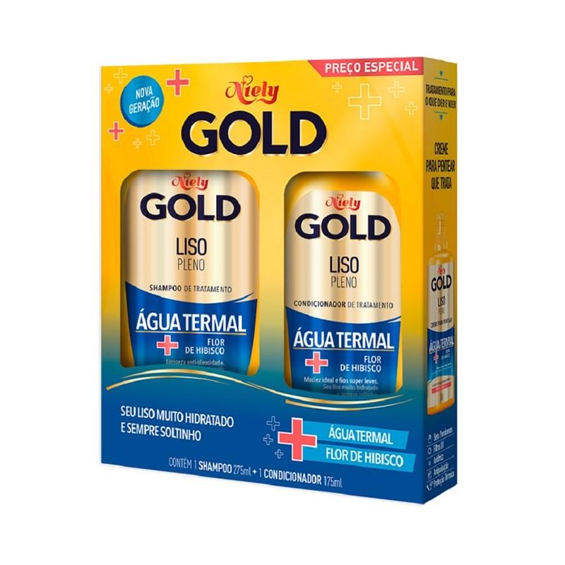 Kit Shampoo 300 ml + Condicionador 200 ml Niely Gold Liso Prolongado