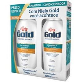 Kit Shampoo 300 ml + Condicionador 200 ml Niely Gold Oleo de Argan Pos Quimica