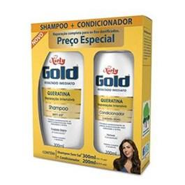 Kit Shampoo 300 ml + Condicionador 200 ml Niely Gold Queratina Reparac?o