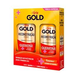 Kit Shampoo 300 ml + Condicionador 200 ml Niely Gold Queratina Reparação