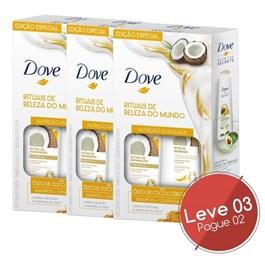 Kit Shampoo 400 ml + Condicionador 200 ml Dove Óleo de Coco e Cúrcuma Leve 03 Pague 02