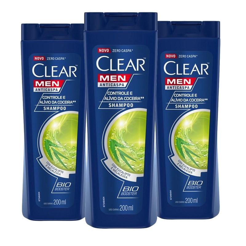 Kit Shampoo Anticaspa Clear Men 200 ml Controle e Alívio da Coceira Leve 03 Pague 02