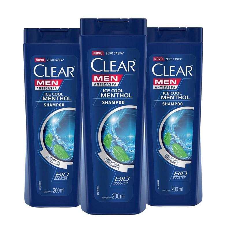 Kit Shampoo Anticaspa Clear Men 200 ml Ice Cool Menthol Leve 03 Pague 02