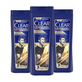 Kit Shampoo Anticaspa Clear Men 200 ml Limpeza Profunda Leve 03 Pague 02
