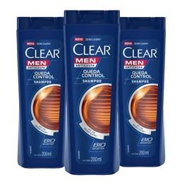 Kit Shampoo Anticaspa Clear Men 200 ml Queda Control Leve 03 Pague 02