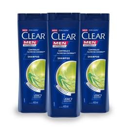 Kit Shampoo Clear Men 2 em 1 400 ml Limpeza Diária Leve 03 Pague 02