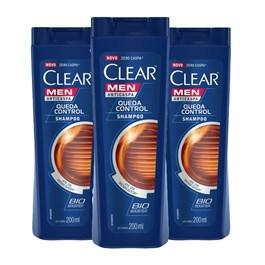 Kit Shampoo Clear Men 200 ml Queda Control Leve 03 Pague 02