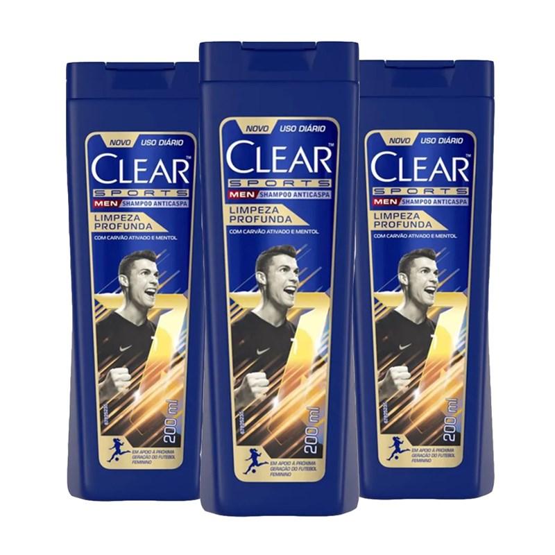Kit Shampoo Clear Men Sports 200 ml Limpeza Profunda  Leve 03 Pague 02