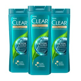Kit Shampoo Clear Scalpfoods 200 ml Detox Diário Leve 03 Pague 02