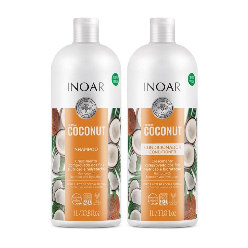 Kit Shampoo + Concionador Inoar 1000 ml Cada #Bombar Coconut