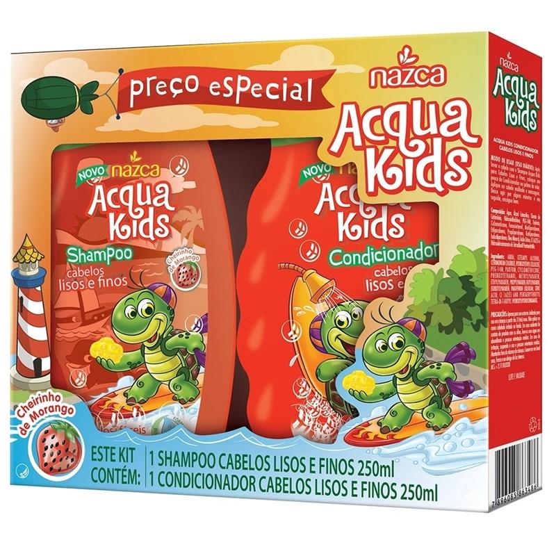 Kit Shampoo + Condicionador Acqua Kids 250 ml Cabelos Lisos e Finos