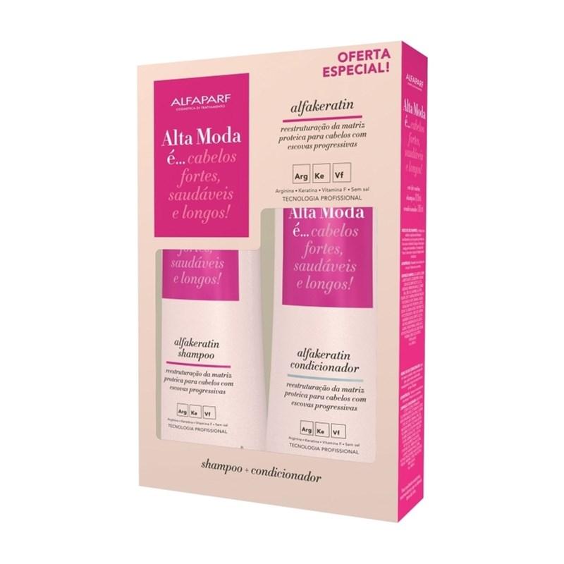 Kit Shampoo + Condicionador Alta Moda 300 ml Cada Alfakeratin