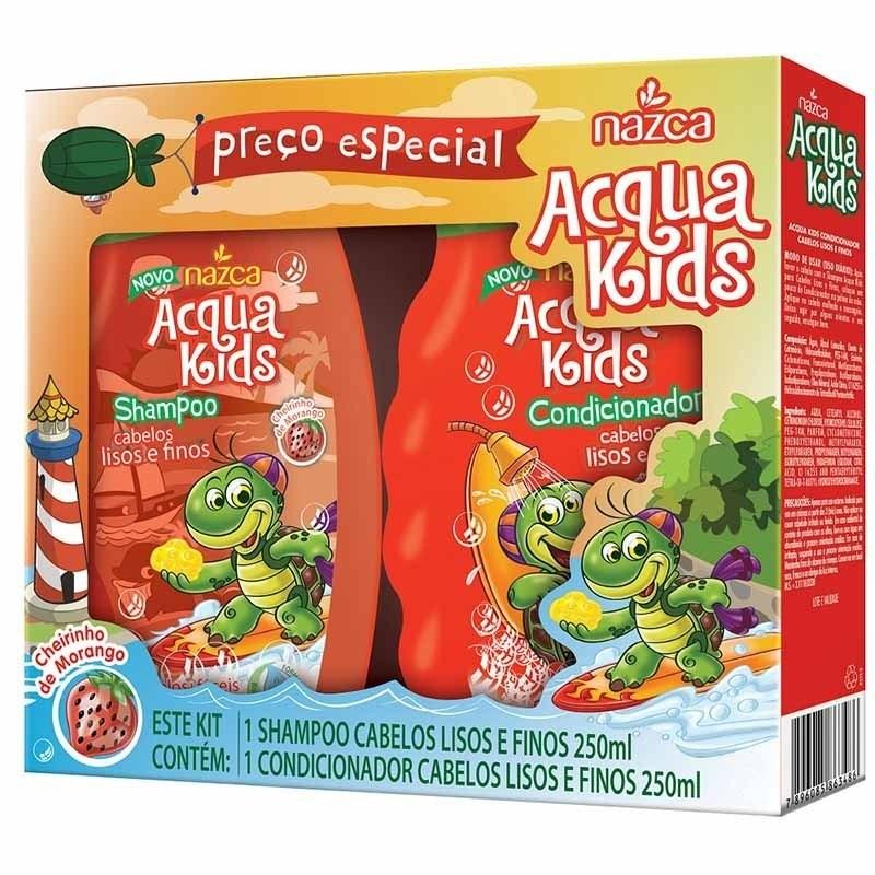 Kit Shampoo + Condicionador Nazca  Acqua Kids 400 ml Cada Lisos e Finos