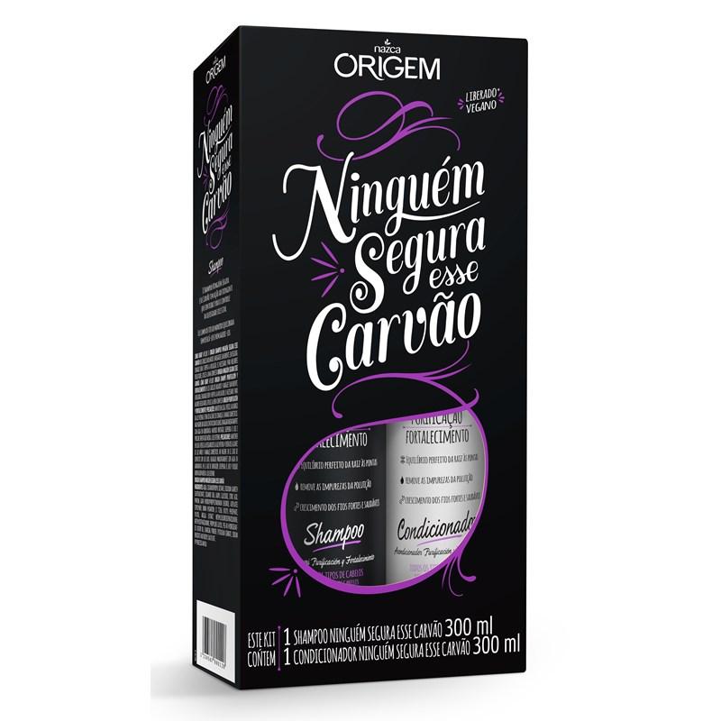 Kit Shampoo + Condicionador Origem Ninguém Segura Esse Carvão 300 ml cada