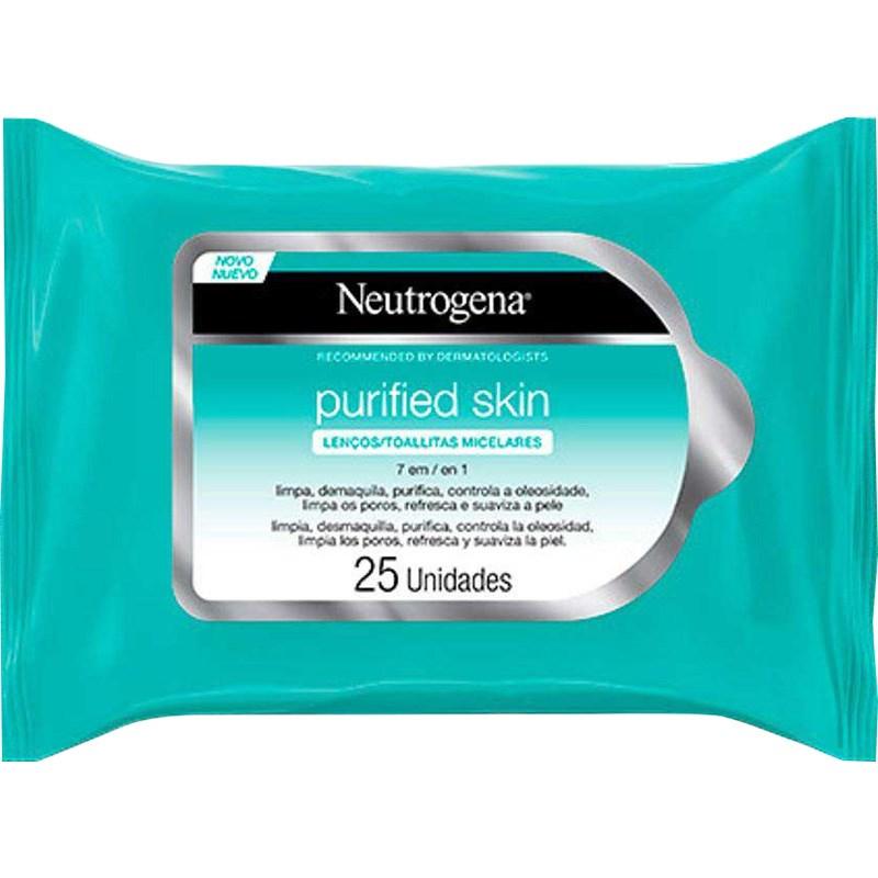 Lenço Micelar Neutrogena Purified Skin   Com 25 Unidades