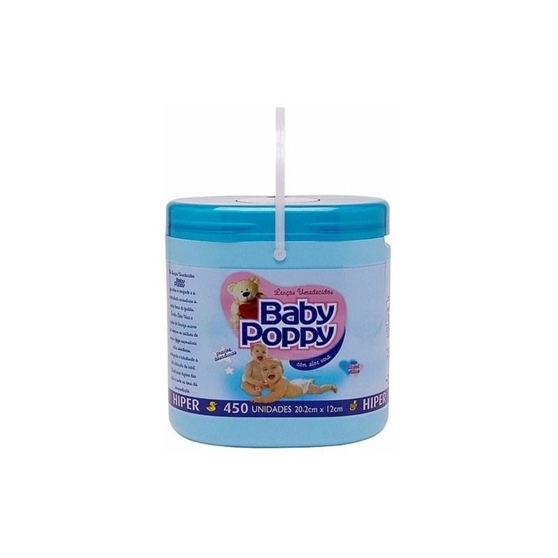Lenços Umedecidos Baby Poppy Hiper 450 unidades Azul