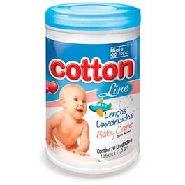 Lenços Umedecidos Cotton Line Baby Care 70 Unidades Azul