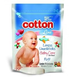 Lenços Umedecidos Cotton Line Baby Care 70 Unidades Refil