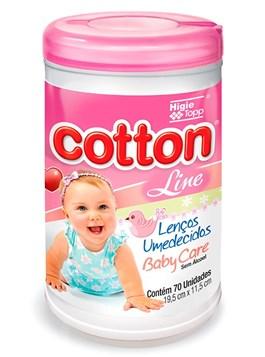 Lenços Umedecidos Cotton Line Baby Care 70 Unidades Rosa