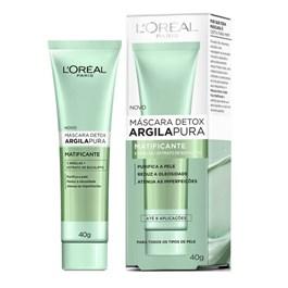 Máscara Detox Argila Pura L'oréal Paris 40 gr Matificante