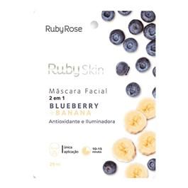 Máscara Facial de Tecido Ruby Rose Banana + Blueberry